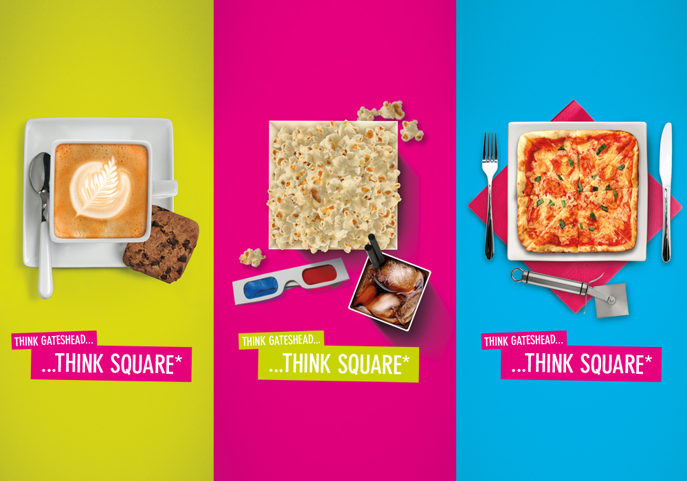 Food and drink advertising material for Trinity Square Gateshead