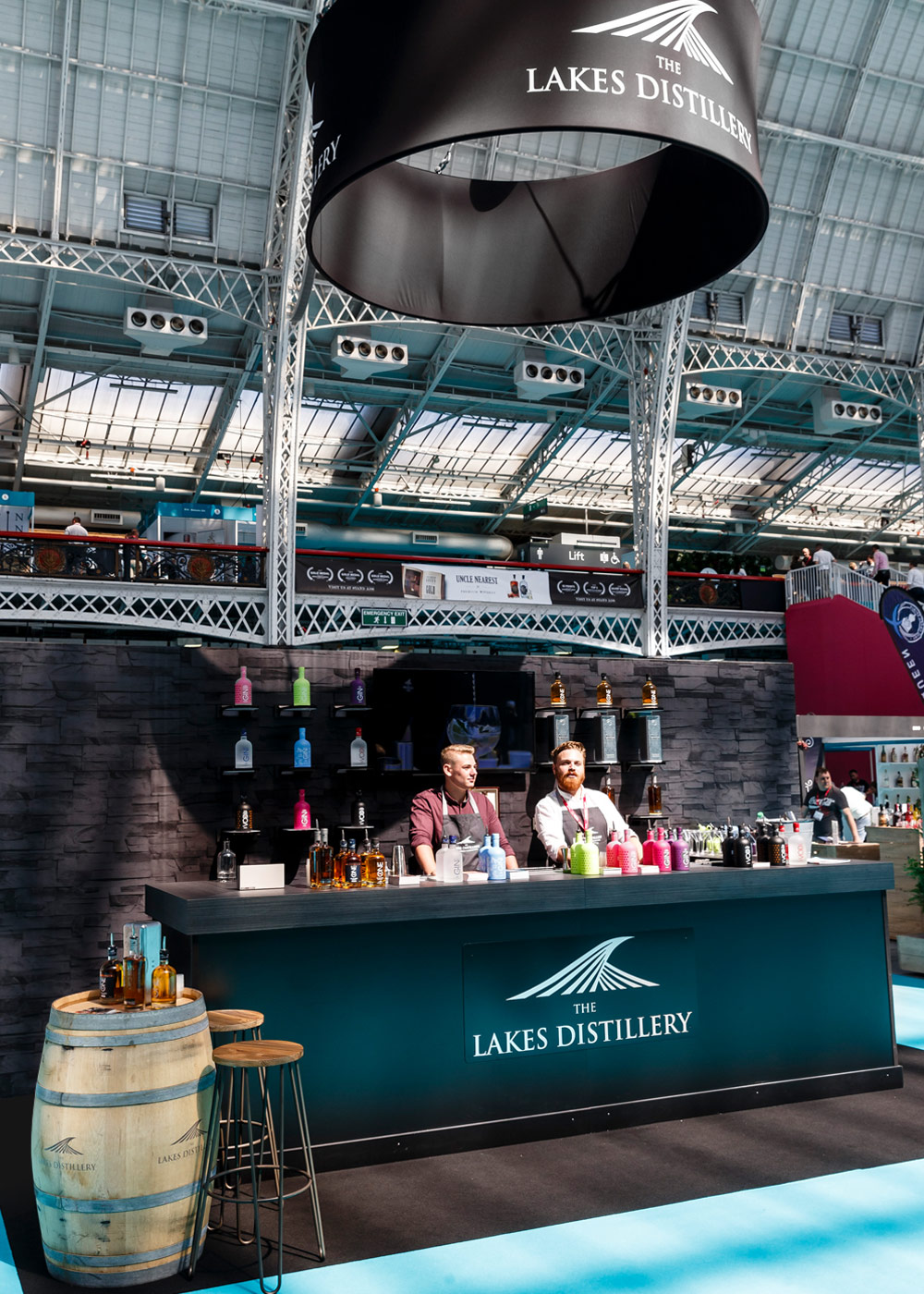 The Lakes Distillery exhibition stand before opening at IMBIBE Olympia London