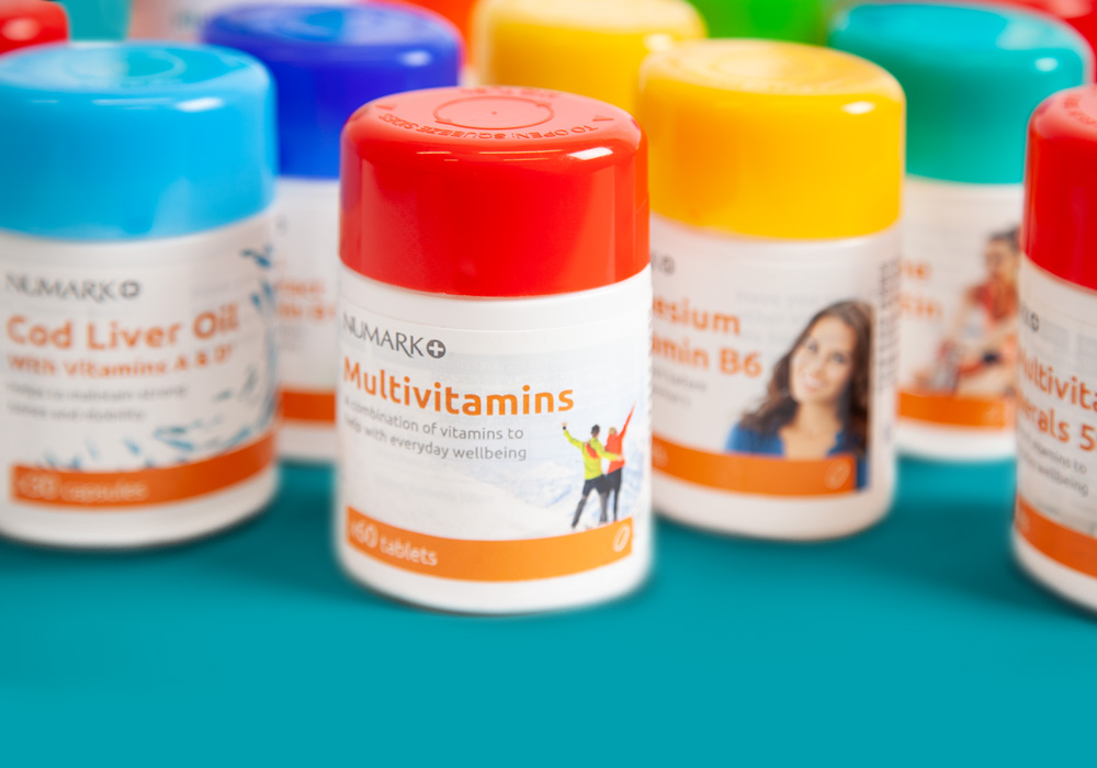 A selection of Numark vitamins, minerals and supplements (VMS) range