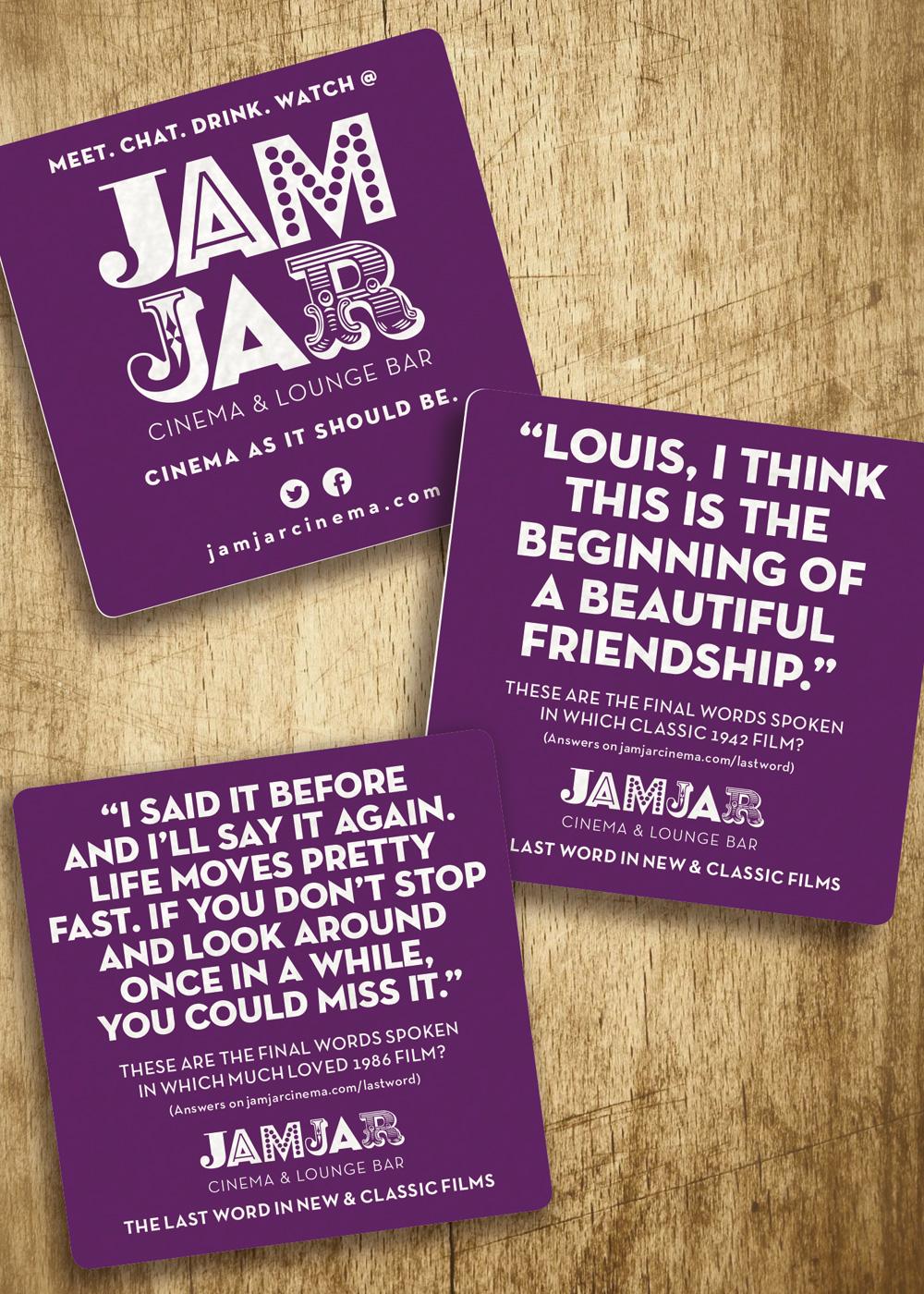 Jam Jar Cinema beer mats.