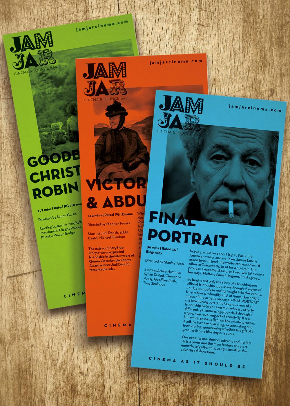 Jam Jar Cinema flyers
