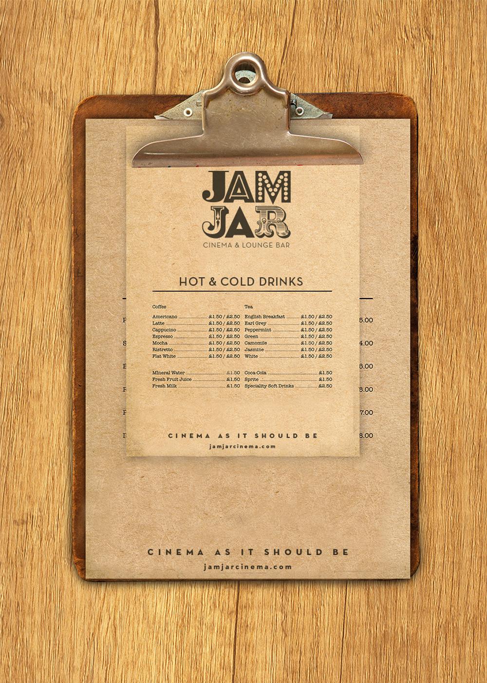 Jam Jar Cinema menu